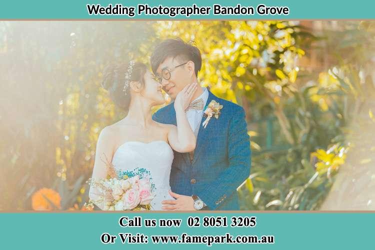 Bride and groom at the garden Bandon Grove