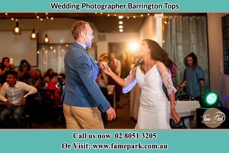 The Bride and Groom dance in the dance floor Barrington Tops