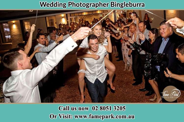 Bride and Groom at the reception Bingleburra