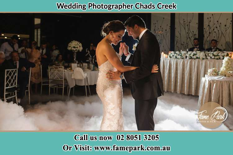 Photo of the Bride and the Groom dancing Chads Creek NSW 2311