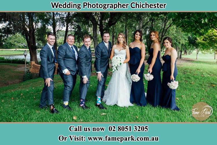 The bride, Groom and the sponsors at the garden Chichester