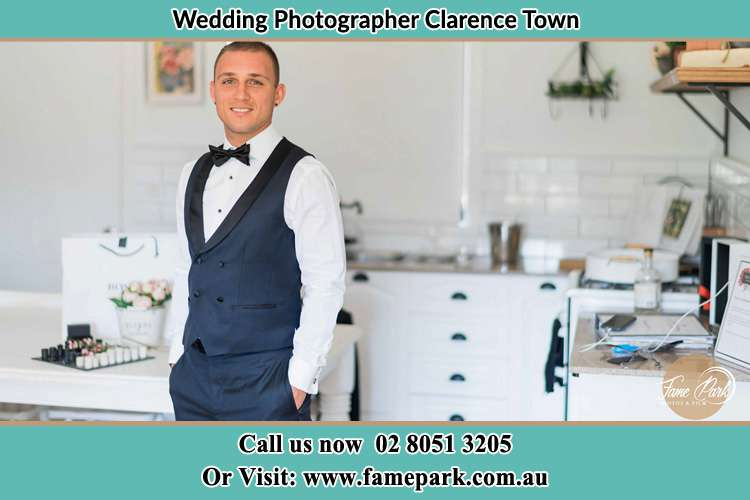 The Groom smiling on camera Clarence Town NSW 2321