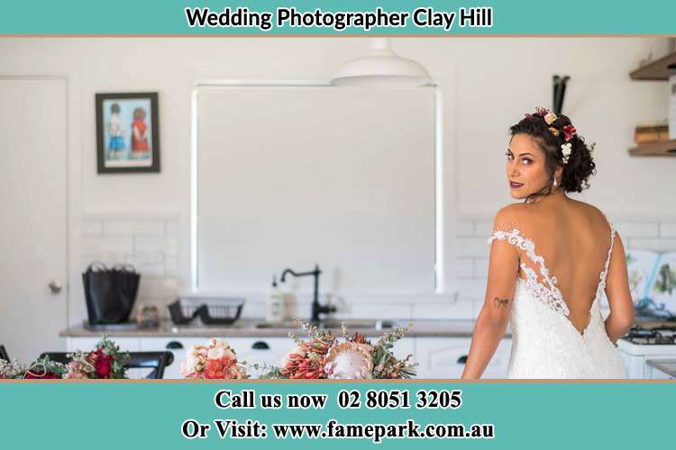 the Bride striking a pose on camera Clay Hill NSW 2420