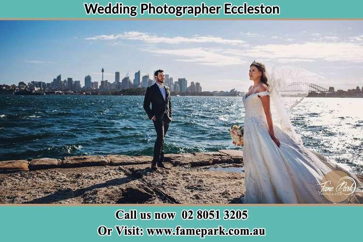 Bride and Groom at the seashore Eccleston