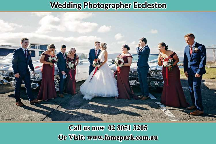 Bride, Groom and the sponsors at the car park Eccleston