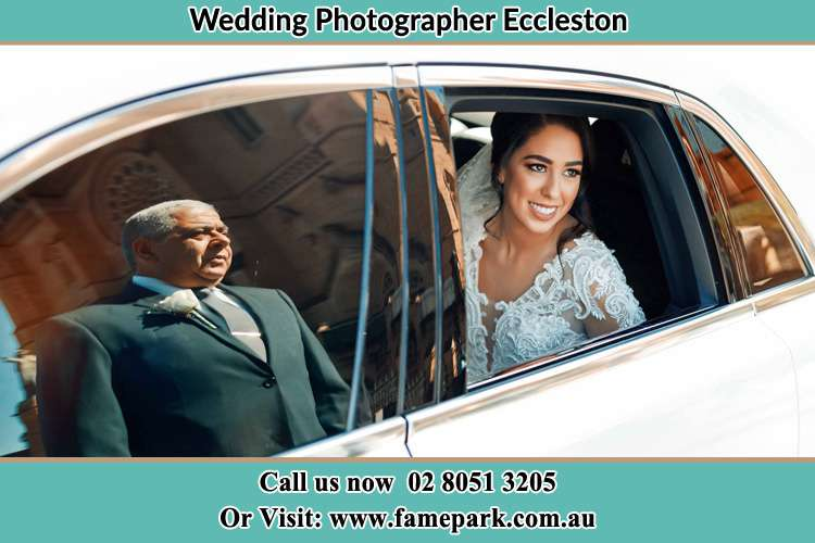 Photo of the Bride inside the bridal car and her father standing outside Eccleston NSW 2311