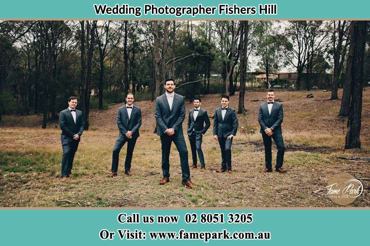 The Groom and his secondary sponsors at the hill Fishers Hill