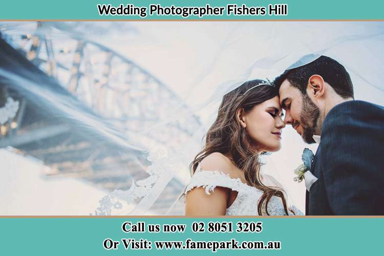 Close up photo of the Bride and the Groom under the bridge Fishers Hill NSW 2421