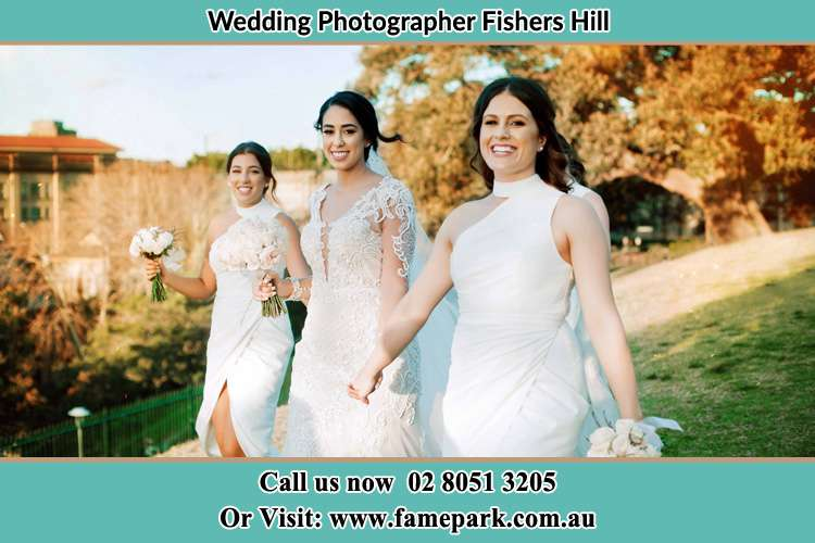 Photo of the Bride with her secondary sponsors walking Fishers Hill NSW 2421