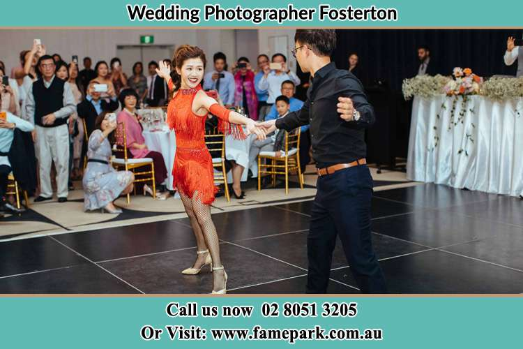 Photo of the Groom and the Bride dancing at the dance floor Fosterton NSW 2420