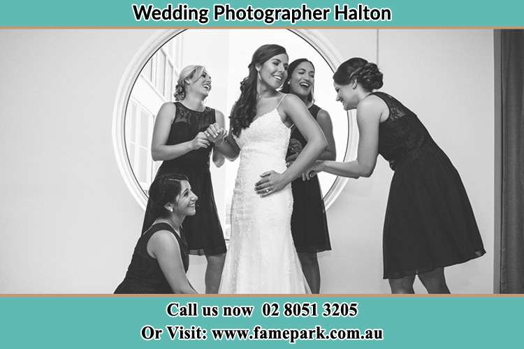Photo of the Bride and her bridesmaids near the window Halton NSW 2311