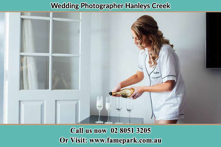 Photo of the Bride pouring wine to the glass Hanleys Creek NSW 2420
