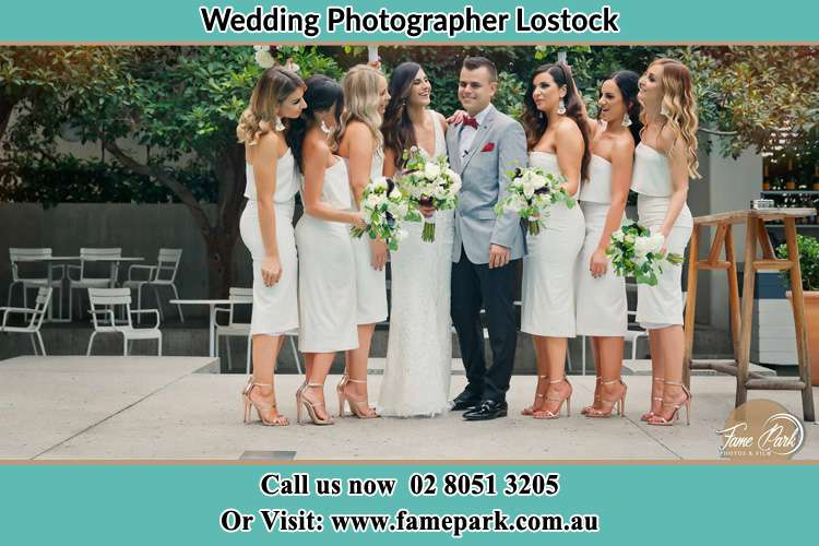 Photo of the Bride and the Groom with the bridesmaids Lostock NSW 2311