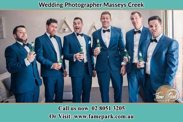 Groom and his secondary sponsors near the couch Masseys Creek