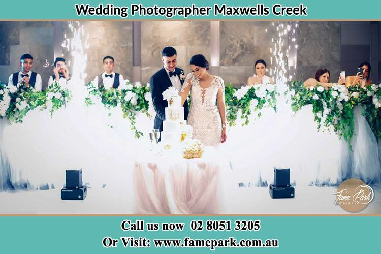 Photo of the Groom and the Bride slicing the cake Maxwells Creek NSW 2420