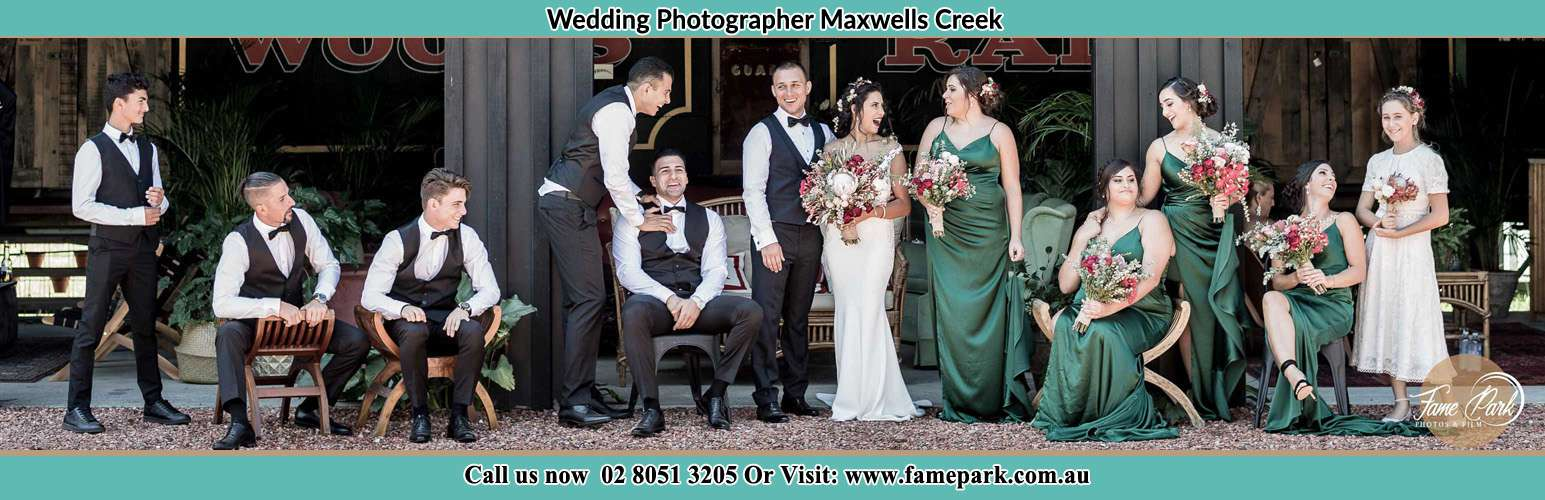Bride and Groom with their secondary sponsor at the receiving area Maxwells Creek