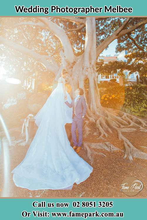 Photo of the Bride and the Groom happily looking each other besides the big tree Melbee NSW 2420