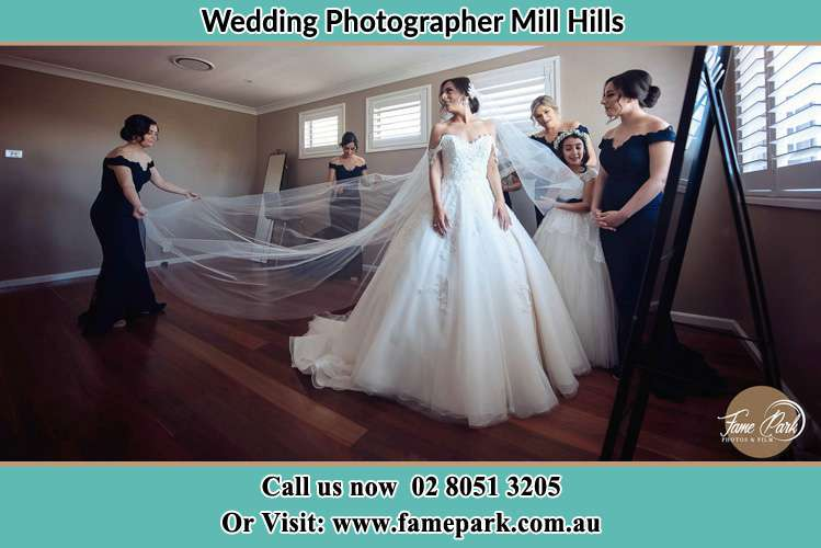 Photo of the bride with her secondary sponsors preparing for the wedding Mill Hills NSW 2022