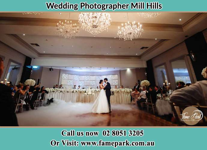 Photo of the Groom and the Bride dancing on the dance floor Mill Hills NSW 2022
