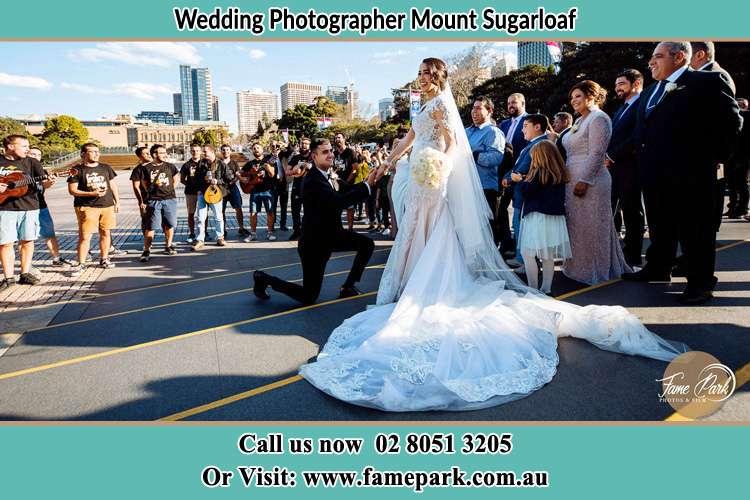 Groom Kneeling down infront of the Bride Mount Sugarloaf NSW 2286