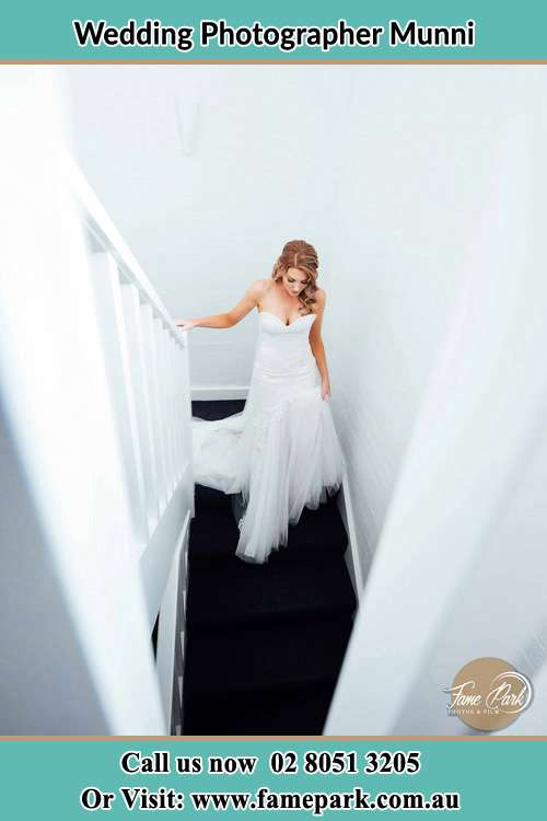 Photo of the Bride going down stair Munni NSW 2420