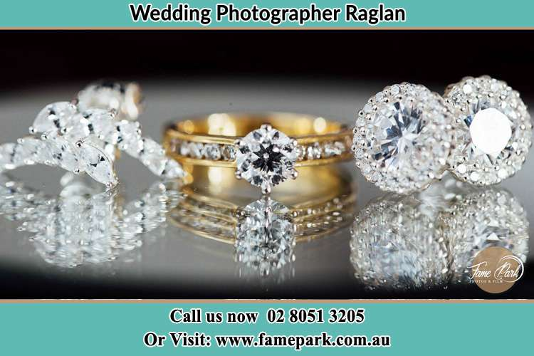 Photo of the Bride's pin, ring and earrings Raglan NSW 2795