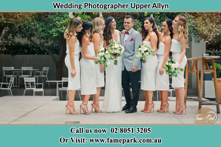 Photo of the Bride and the Groom with the bridesmaids Upper Allyn NSW 2311