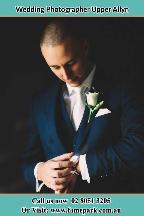Photo of the Groom checking the time Upper Allyn NSW 2311