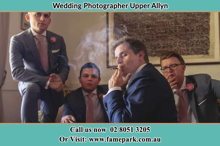 Photo of the Groom with the groomsmen relaxing Upper Allyn NSW 2311