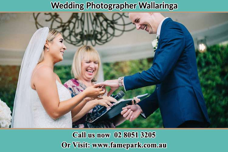 Photo of the Bride wearing the ring to the Groom Wallaringa NSW 2420