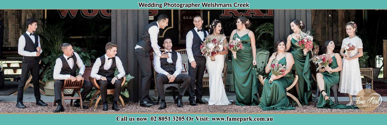 Photo of the Groom and the Bride with their entourage Welshmans Creek NSW 2420